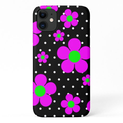 Mod Pink Daisies & Polka Black & White Polka Dots iPhone 11 Case