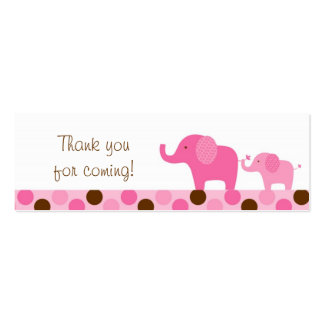 Mod Pink Elephant Party Favor Gift Tags Double-Sided Mini Business Cards (Pack Of 20)