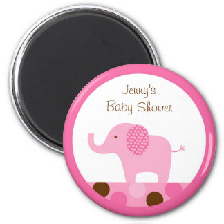 Mod Pink Elephant Party Favor Magnets