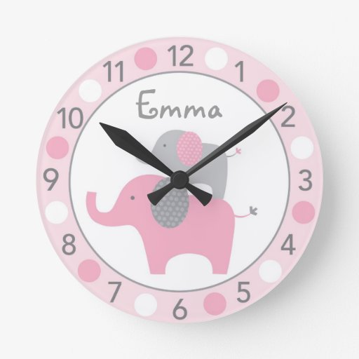 Mod Pink Elephant Personalized Nursery Wall Clock