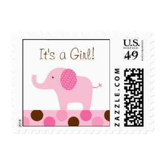 Mod Pink Elephant Personalized Postage Stamps