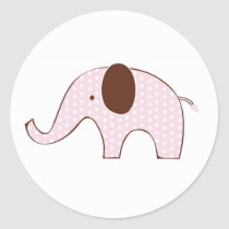 Mod Pink Elephant Shower Stickers Envelope Seals