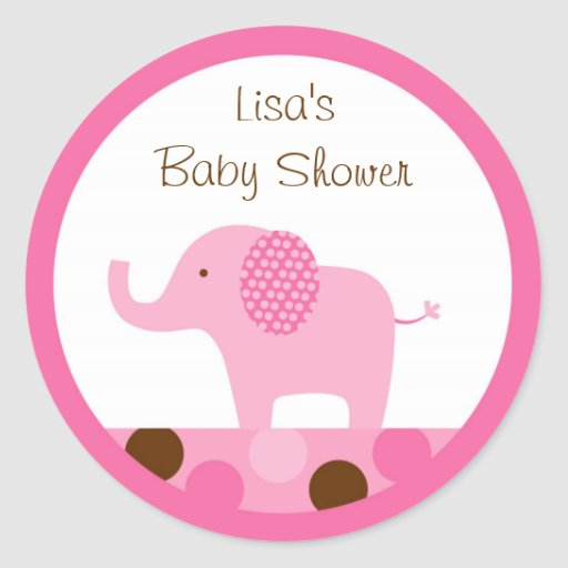 Mod Pink Elephant Stickers Cupcake Toppers