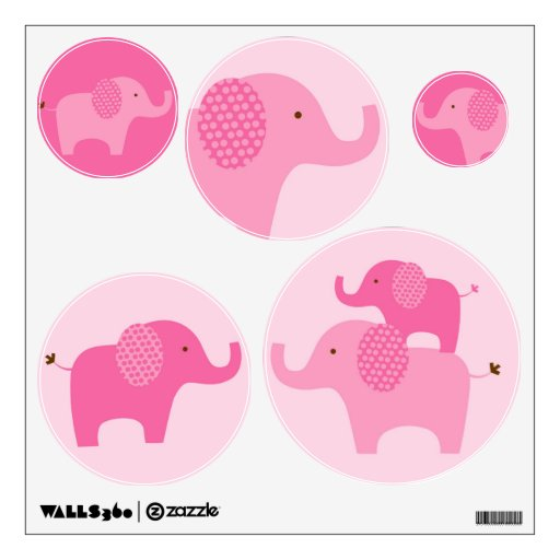 Mod Pink Elephant Wall Stickers Decals