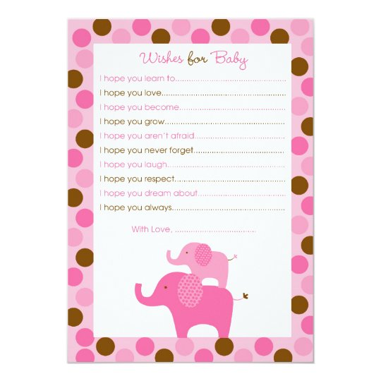 Mod Pink Elephant Wishes for Baby Advice Card