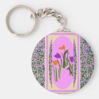 Mod Pink Flower Border by CricketDiane Key Chains