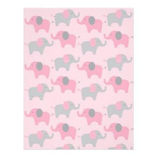 Mod Pink Grey Elephant Baby Scrapbook Paper
