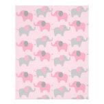 Mod Pink Grey Elephant Baby Scrapbook Paper Customized Letterhead