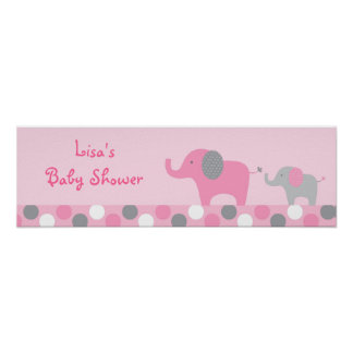 Mod Pink Grey Elephant Baby Shower Banner Sign