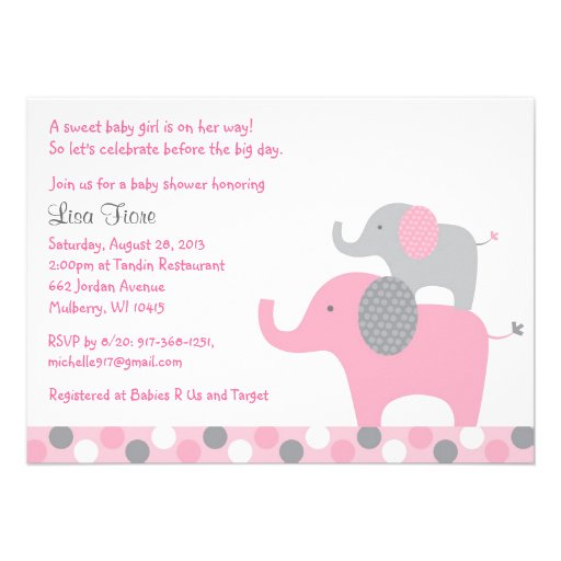 Mod Pink Grey Elephant Baby Shower Invitations