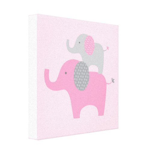Mod Pink Grey Elephant Canvas Nursery Wall Art