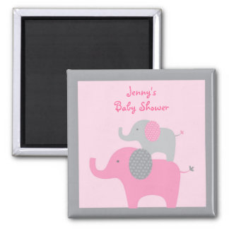 Mod Pink Grey Elephant Party Favor Magnets