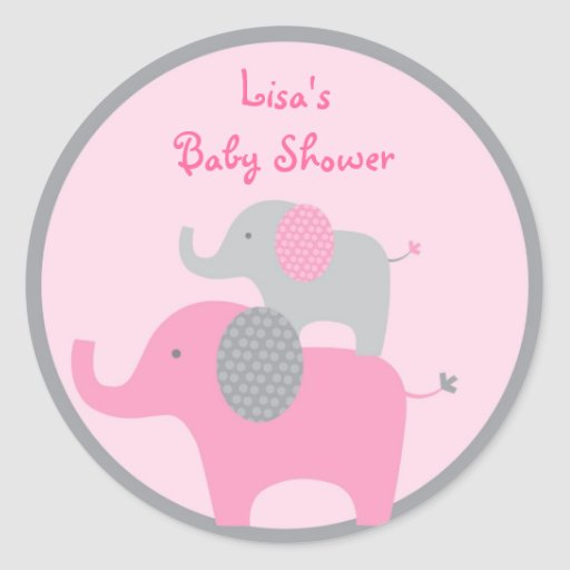 Mod Pink Grey Elephant Stickers Cupcake Toppers