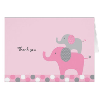 Mod Pink Grey Elephant Thank You Note Cards