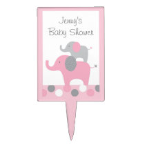 Mod Pink Grey Elephant Topper Cupcake Topper