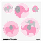 Mod Pink Grey Elephant Wall Stickers Decals