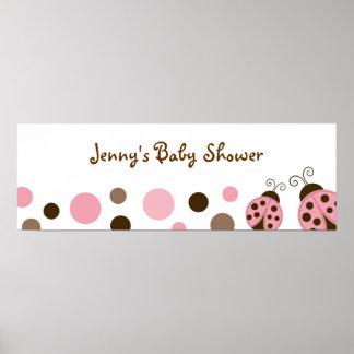 Mod Pink Ladybug Baby Shower Banner Sign Print
