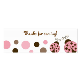Mod Pink Ladybug Baby Shower Favor Gift Tags Double-Sided Mini Business Cards (Pack Of 20)
