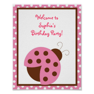 Mod Pink Ladybug Birthday Baby Shower Sign Posters
