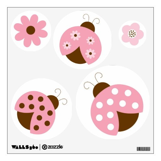 Mod Pink Ladybug Circle Wall Stickers Decals