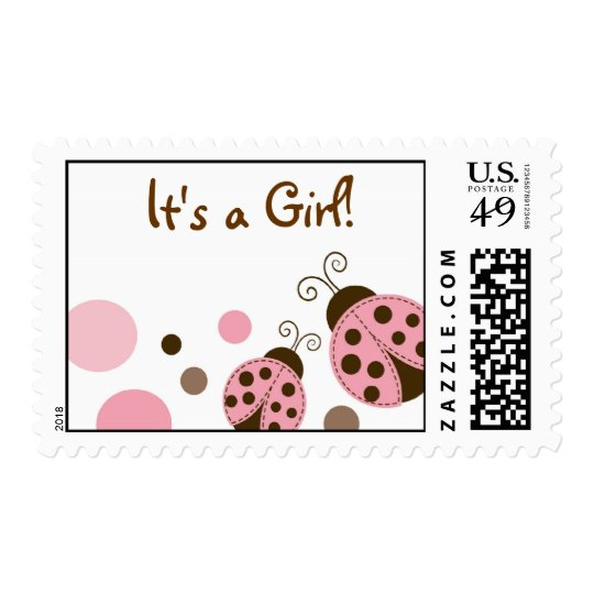 Mod PInk Ladybug Personalized Postage Stamps