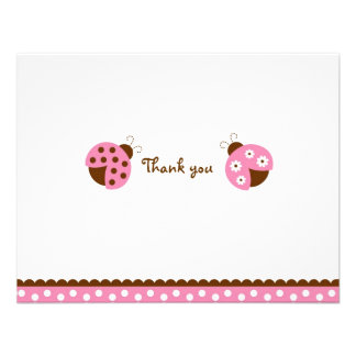 Mod Pink Ladybug Thank You Note Cards Invitations