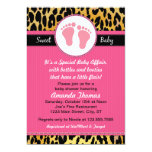 "Mod Pink Leopard Baby Shower Invitations 5"" X 7"" Invitation Card"