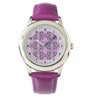 Mod Pink Mauve Pattern Wrist Watch