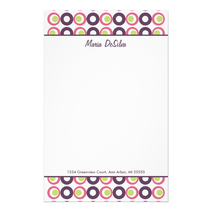 Mod Pink Olives Personalized Stationery