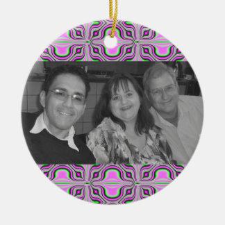 Mod pink photoframe ceramic ornament