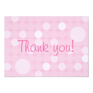 Mod Pink Polka Dot Baby Shower Thank You 4.5x6.25 Paper Invitation Card
