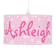 Mod Pink Polka Dot Hanging Pendant Lamp