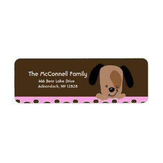 Mod Pink Puppy dog PRINTABLE ADDRESS LABELS