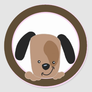 Mod Pink Puppy Envelope Seals / Toppers Classic Round Sticker