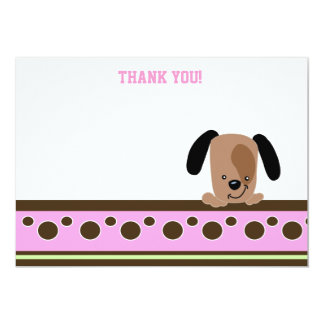 Mod Pink Puppy Theme Flat Thank You notes 5x7 Paper Invitation Card