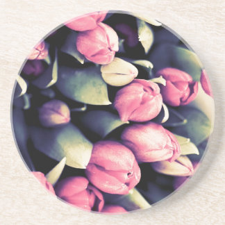 Mod Pink Tulips Round Decorative Coaster