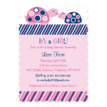 Mod Pink Turtle Baby Shower Invitations