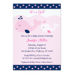 Mod Pink Whale Baby Shower Invitations