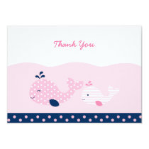 Mod Pink Whale Thank You Cards