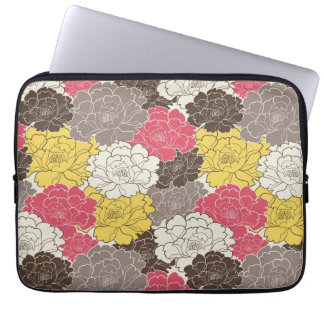 Mod Pink Yellow Brown Flowers Floral Laptop Sleeve