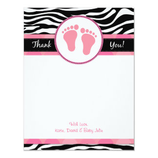 Mod Pink Zebra Baby Shower Thank You Notes Card
