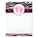 """Mod Pink Zebra Baby Shower Thank You Notes 4.25"""" X 5.5"""" Invitation Card"""
