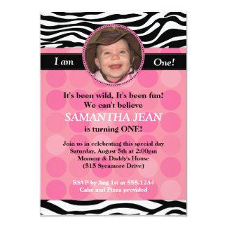 Mod Pink Zebra PHOTO Birthday Invitation