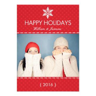 Mod Plaid Red Snowflake Holiday Flat Card