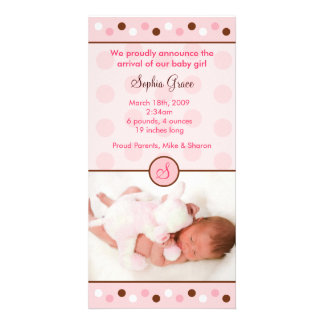 Mod Polka Dots Custom Photo Birth Announcements Personalized Photo Card