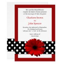 mod polka dots red gerbera daisy card