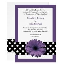 mod polka dots violet gerbera daisy card