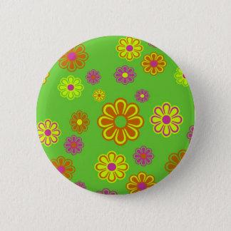 mod pop flowers groovy button