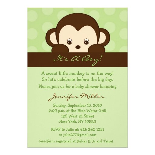 monkey custom baby shower invitations 5 x 7 invitation card