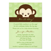 Mod Pop Monkey Custom Baby Shower Invitations